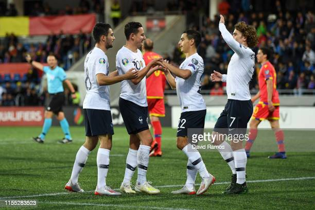 Florian Thauvin of France celebrates with teammates after scoring his team's third goal during the UEFA Euro 2020 Qualification match between Andorra...