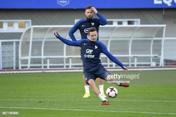 Florian Thauvin of France kicks the ball during a France training session on October 3 2017 in Clairefontaine France