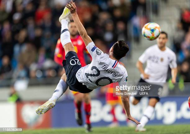 Florian Thauvin of France scores his team's third goal with a bicycle kick during the UEFA Euro 2020 Qualifier Group H match between Andorra and...