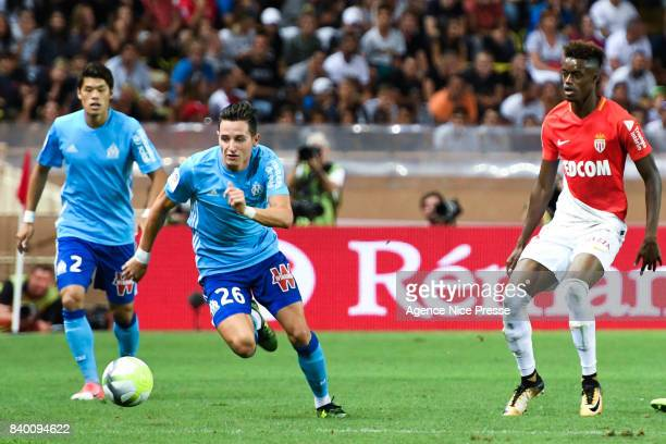 Florian Thauvin of Marseille and Adama Diakhaby of Monaco during the Ligue 1 match between AS Monaco and Olympique Marseille at Stade Louis II on...