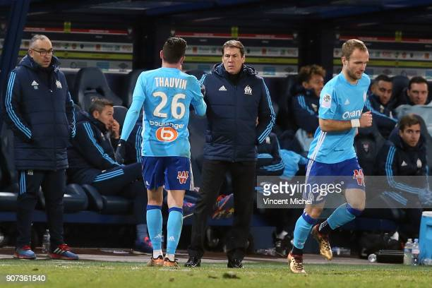 Florian Thauvin of Marseille and Rudy Garcia head coach of Marseille and Valere Germain during the Ligue 1 match between Caen and Olympique de...