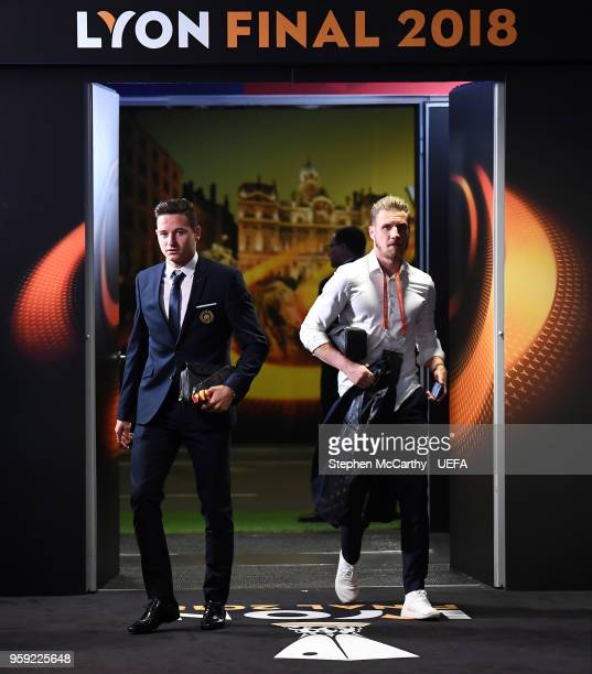 Florian Thauvin of Marseille arrives at the stadium ahead of the UEFA Europa League Final between Olympique de Marseille and Club Atletico de Madrid...