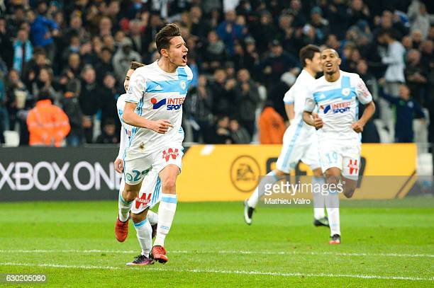 Florian Thauvin of Marseille celebrate his goal during the French Ligue 1 match between Marseille and Lille at Stade Velodrome on December 18 2016 in...