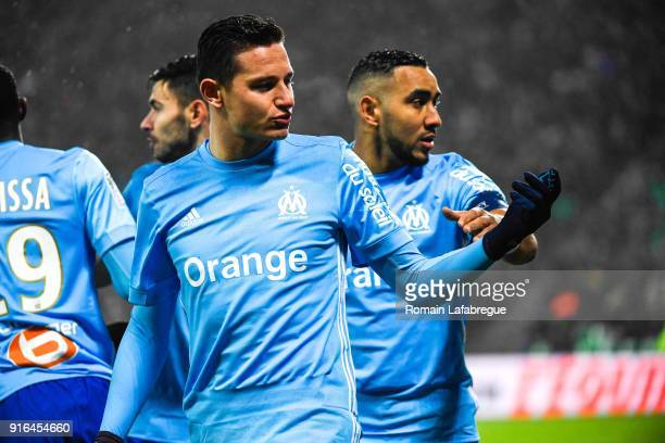 Florian Thauvin of Marseille celebrates after scoring a goal with Dimitri Payet of Marseille during the Ligue 1 match between AS SaintEtienne and...