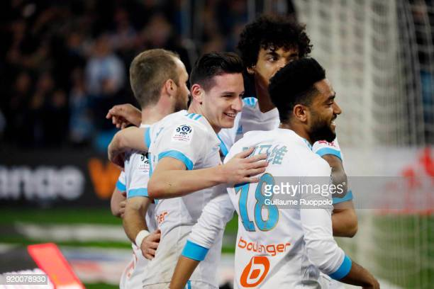 Florian Thauvin of Marseille celebrates his goal during the Ligue 1 match between Olympique Marseille and FC Girondins de Bordeaux at Stade Velodrome...