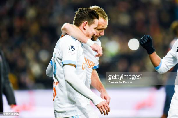 Florian Thauvin of Marseille celebrates his Goal with Valere Germain during the Ligue 1 match between Montpellier Herault SC and Olympique Marseille...