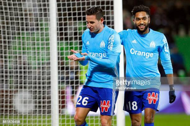 Florian Thauvin of Marseille celebrates scoring his goal with Jordan Amavi of Marseille during the Ligue 1 match between Metz and Olympique Marseille...