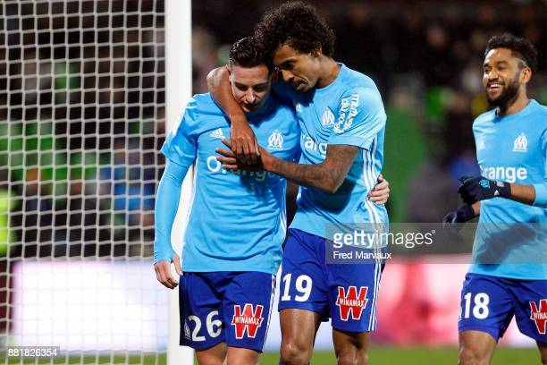 Florian Thauvin of Marseille celebrates scoring his goal with Luiz Gustavo during the Ligue 1 match between Metz and Olympique Marseille at Stade...