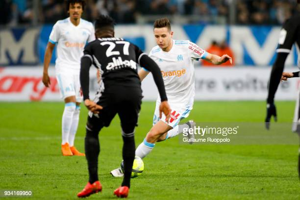 Florian Thauvin of Marseille during the Ligue 1 match between Olympique Marseille and Lyon at Stade Velodrome on March 18 2018 in Marseille