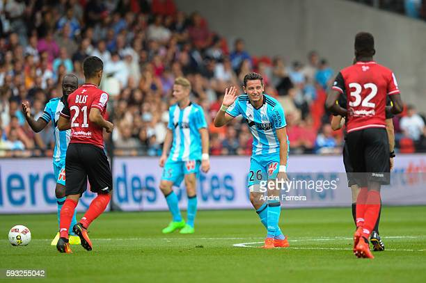 Florian Thauvin of Marseille during the Ligue 1 match between EA Guingamp and Olympique de Marseille at Stade du Roudourou on August 21 2016 in...