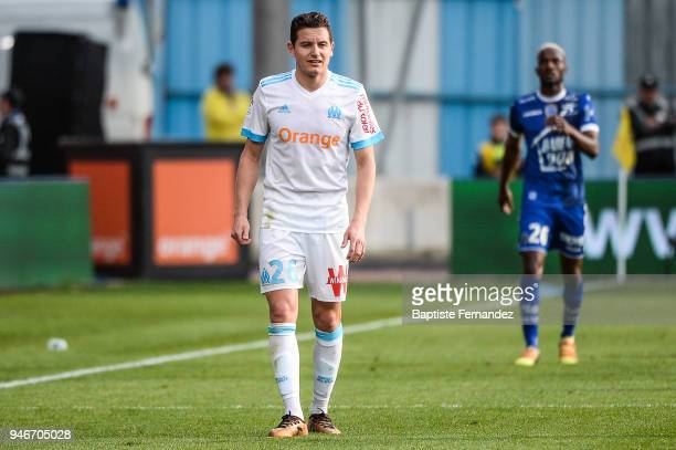 Florian Thauvin of Marseille during the Ligue 1 match between Troyes Estac and Olympique de Marseille at Stade de l'Aube on April 15 2018 in Troyes