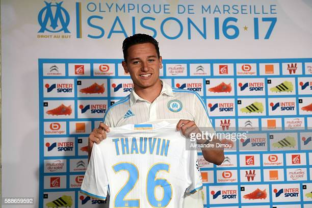 Florian Thauvin of Marseille during the press conference on Olympique de Marseille Ligue 1 team at Stade Velodrome on August 12 2016 in Marseille...