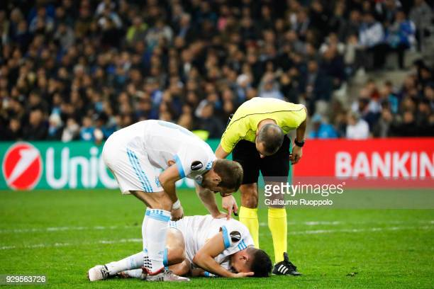 Florian Thauvin of Marseille during the UEFA Europa League Round of 16 First Leg match between Marseille and Athletic Bilbao at Stade Velodrome on...