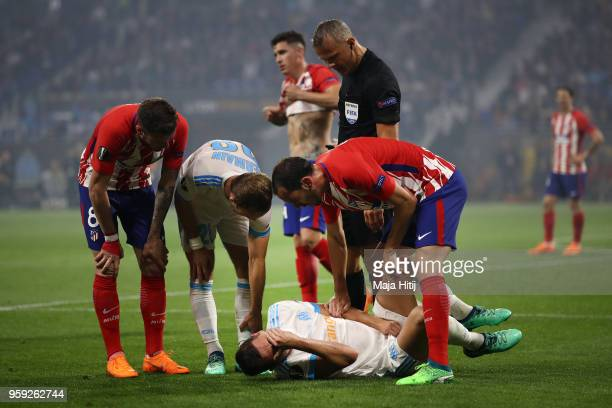 Florian Thauvin of Marseille lies on the floor after picking up an injury during the UEFA Europa League Final between Olympique de Marseille and Club...