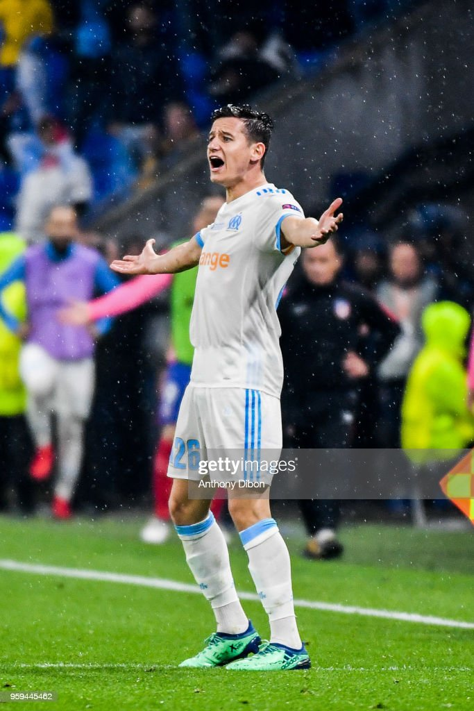 Florian Thauvin of Marseille looks dejected during the Europa League Final match between Marseille and Atletico Madrid at Groupama Stadium on May 16, 2018 in Lyon, France.