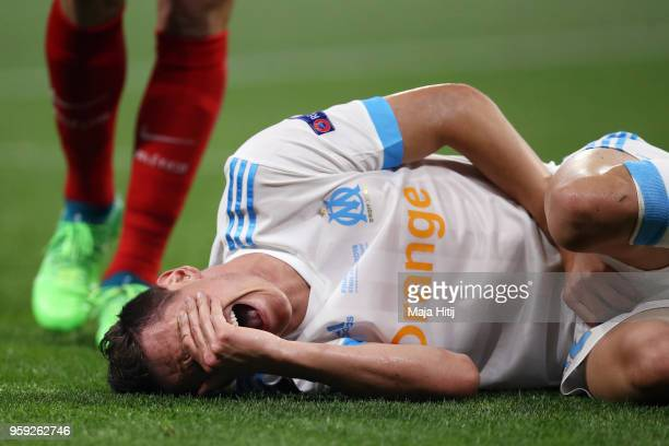 Florian Thauvin of Marseille reacts after picking up an injury during the UEFA Europa League Final between Olympique de Marseille and Club Atletico...