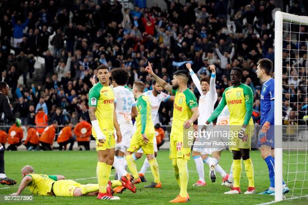 Florian Thauvin of Marseille scores the second goal during the Ligue 1 match between Olympique Marseille and Nantes at Stade Velodrome on March 4...