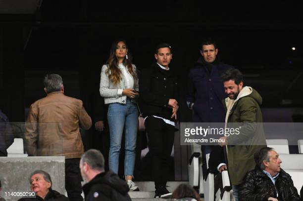 Florian Thauvin of Marseille with his wags Charlotte Pirroni during the Ligue 1 match between Marseille and Nantes at Stade Velodrome on April 28...