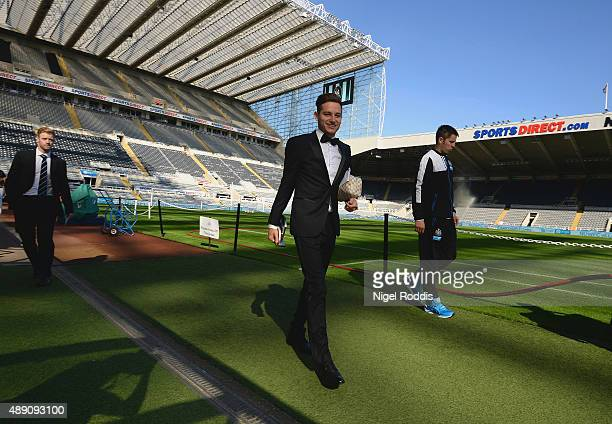 Florian Thauvin of Newcastle United arrives at the stadium prior to the Barclays Premier League match between Newcastle United and Watford at St...