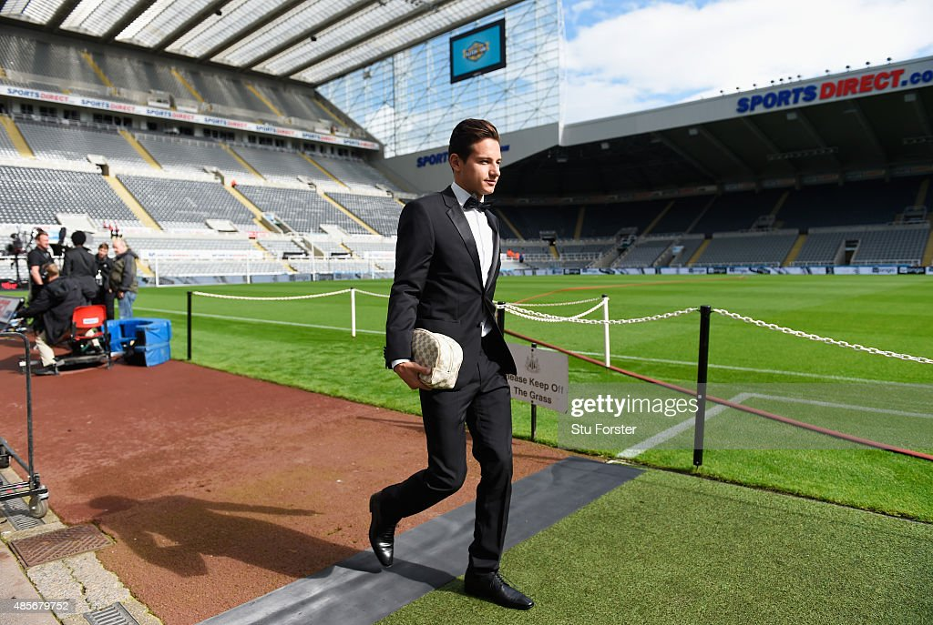 Florian Thauvin of Newcastle United arrives in a tuxedo for the Barclays Premier League match between Newcastle United and Arsenal at St James' Park on August 29, 2015 in Newcastle upon Tyne, England.