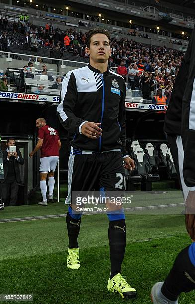 Florian Thauvin of Newcastle walks on the pitch for his home debut during The Capital One Cup second round match between Newcastle United and...