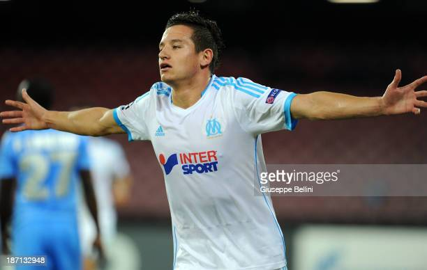 Florian Thauvin of Olympique de Marseille celebrates after scoring their second goal during the UEFA Champions League Group F match between SSC...