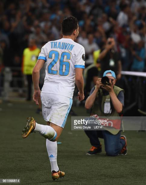 Florian Thauvin of Olympique de Marseille celebrates after scoring his team's first goal during the UEFA Europa League Semi Final First leg match...