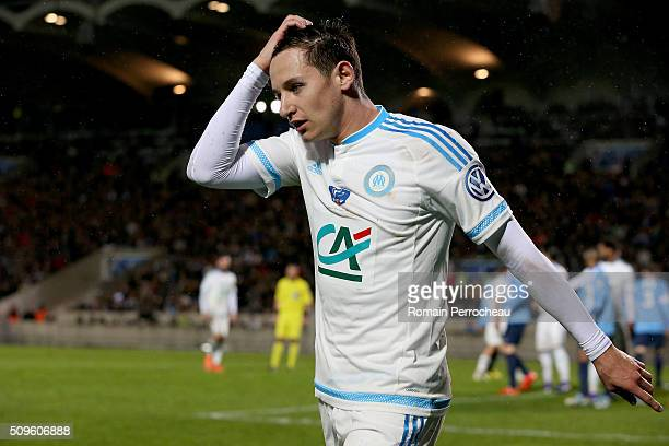Florian Thauvin of Olympique de Marseille gestures during the French Cup match between Trelissac FC and Olympique de Marseille at Stade ChabanDelmas...