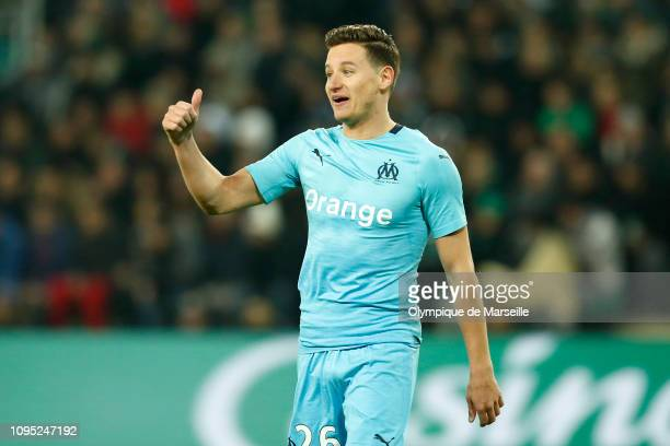 Florian Thauvin of Olympique de Marseille reacts during the Ligue 1 match between Saint-Etienne and Olympique de Marseille at Stade Geoffroy-Guichard...