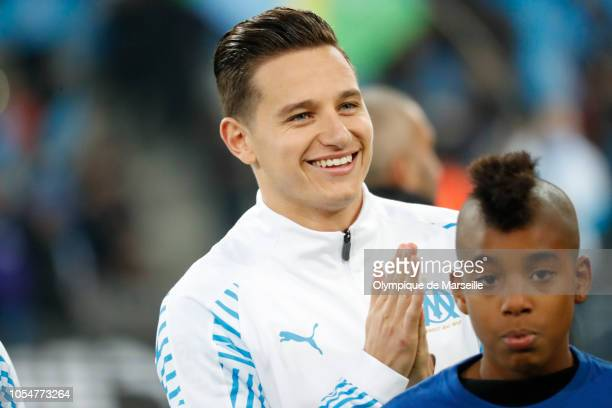 Florian Thauvin of Olympique de Marseille reacts during warm up before the ligue 1 match between Olympique de Marseille and Paris Saint Germain at...