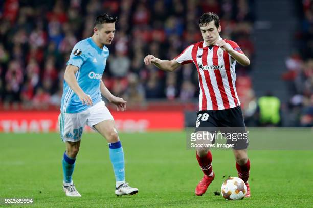 Florian Thauvin of Olympique Marseille Inigo Cordoba of Athletic Bilbao during the UEFA Europa League match between Athletic de Bilbao v Olympique...