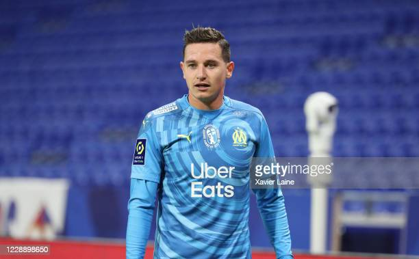 Florian Thauvin of Olympique Marseille looks on during the Ligue 1 match between Olympique Lyon and Olympique Marseille at Groupama Stadium on...