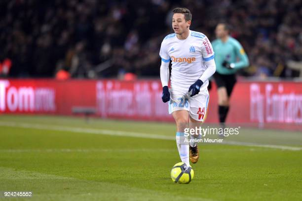 Florian Thauvin of Olympique Marseille runs with the ball during the Ligue 1 match between Paris Saint Germain and Olympique Marseille February 25...