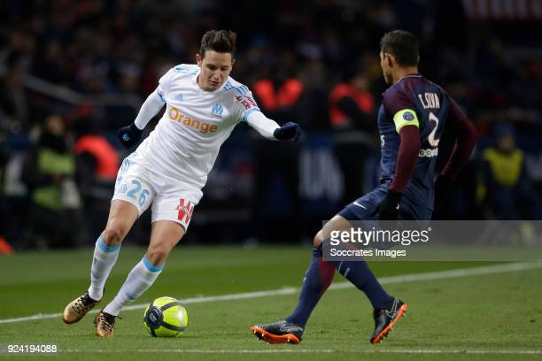Florian Thauvin of Olympique Marseille Thiago Silva of Paris Saint Germain during the French League 1 match between Paris Saint Germain v Olympique...