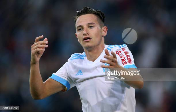 Florian Thauvin of OM celebrates his goal during the French Ligue 1 match between Olympique de Marseille and Toulouse FC at Stade Velodrome on...