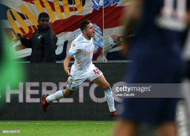 Florian Thauvin of OM celebrates his goal during the French Ligue 1 match between Olympique de Marseille and Paris Saint Germain at Stade Velodrome...