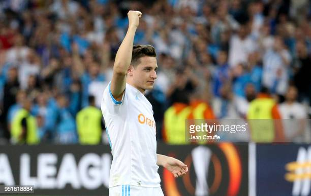 Florian Thauvin of OM celebrates the victory following the UEFA Europa League semi final first leg match between Olympique de Marseille and FC Red...