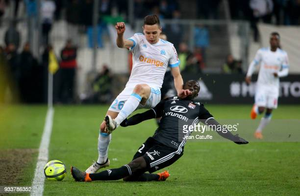 Florian Thauvin of OM Ferland Mendy of Lyon during the French Ligue 1 match between Olympique de Marseille OM and Olympique Lyonnais OL at Stade...