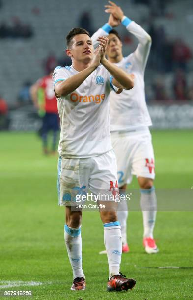 Florian Thauvin of OM salutes the fans following the French Ligue 1 match between Lille OSC and Olympique de Marseille at Stade Pierre Mauroy on...