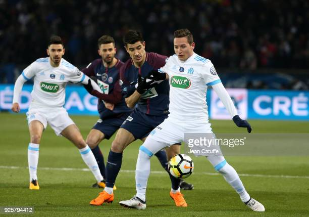 Florian Thauvin of OM Yuri Berchiche of PSG during the French National Cup match between Paris Saint Germain and Olympique de Marseille at Parc des...