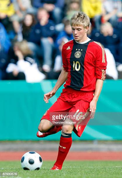 Florian Trinks of Germany runs with the ball during the U17 international friendly match between Germany and Spain at the Kieselhumes stadium in...
