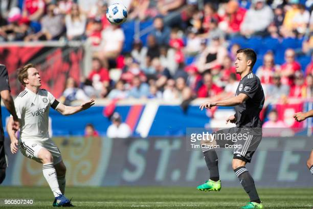 Florian Valot of New York Red Bulls challenged by Dax McCarty of Chicago Fire during the New York Red Bulls Vs Chicago Fire MLS regular season game...