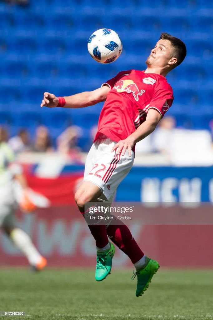 Florian Valot #22 of New York Red Bulls in action during the New York Red Bulls Vs Montreal Impact MLS regular season game at Red Bull Arena on April 14, 2018 in Harrison, New Jersey.