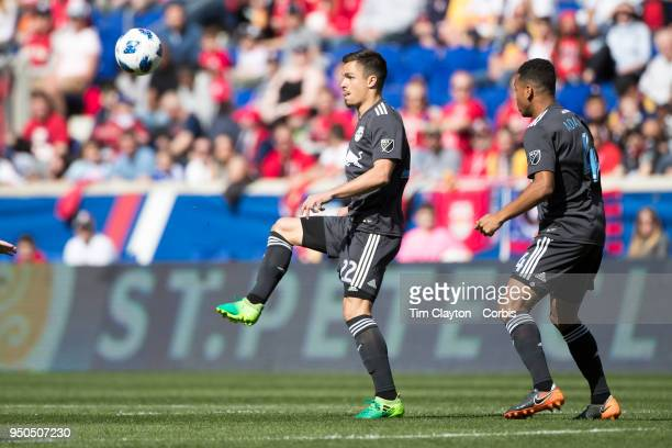 Florian Valot of New York Red Bulls in action during the New York Red Bulls Vs Chicago Fire MLS regular season game at Red Bull Arena on April 21...