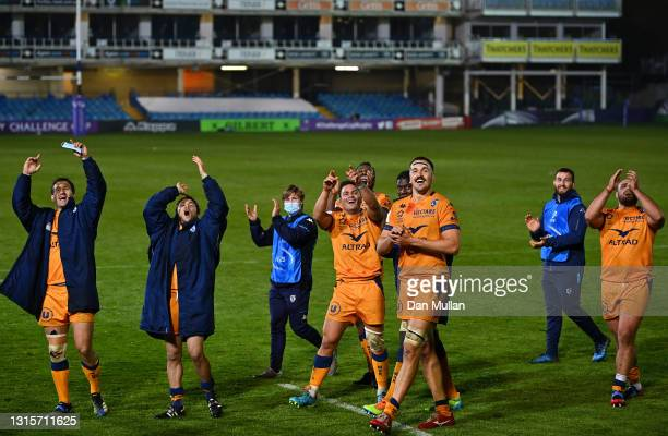 Florian Verhaeghe of Montpellier celebrates with teammates after the European Rugby Challenge Cup match between Bath Rugby and Montpellier at...