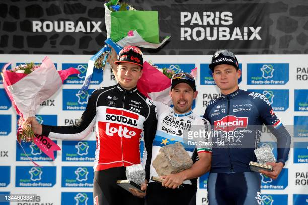 Florian Vermeersch of Belgium and Team Lotto Soudal on second place, stage winner Sonny Colbrelli of Italy and Team Bahrain Victorious with his...
