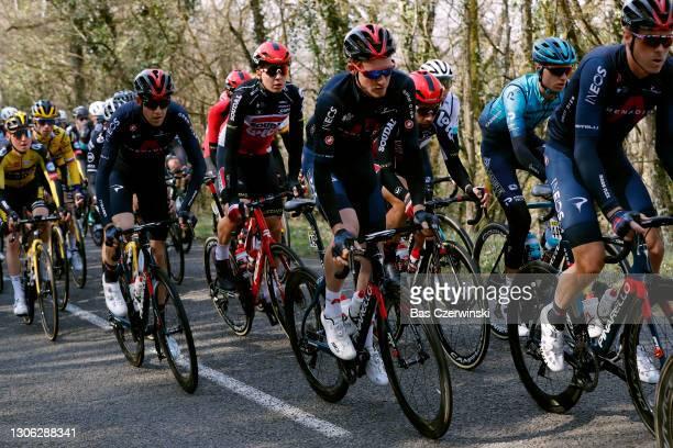 Florian Vermeersch of Belgium and Team Lotto Soudal, Tao Geoghegan Hart of United Kingdom and Team INEOS Grenadiers, Thomas De Gendt of Belgium and...