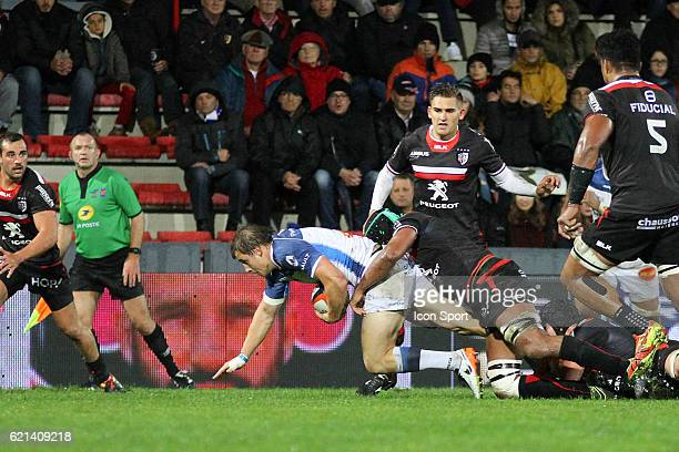 Florian Vialelle of Castres during the Top 14 match between Stade Toulousain and Castres Olympique on November 5 2016 in Toulouse France