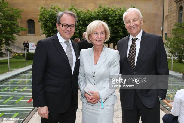 Florian von KhreningerGuggenberger Dirctor HypoVereinsbank UniCredit Munich and Edmund Stoiber and his wife Karin Stoiber during the reception of the...