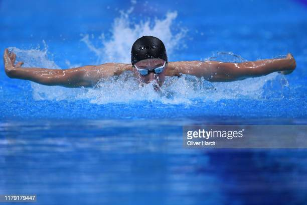 Florian Wellbrock of Germany competes in the Mens 200m Butterfly race during day two of the FINA Swimming World Cup Budapest at Duna Arena on October...